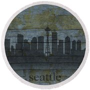 Seattle Washington City Skyline Silhouette Distressed On Worn Peeling Wood Round Beach Towel