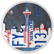 Seattle Washington Space Needle Skyline License Plate Art By Design Turnpike Round Beach Towel