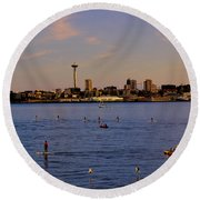 Seattle Waterfront 2 Round Beach Towel