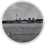 Seattle Waterfront Bw 2 Round Beach Towel