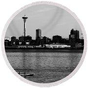 Seattle Waterfront Bw Round Beach Towel