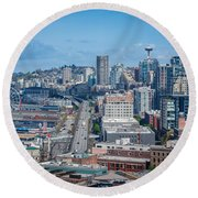 Seattle Waterfront Round Beach Towel