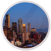 Seattle Winter Evening Panorama Round Beach Towel