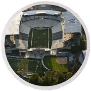 Seattle With Aerial View Of The Newly Renovated Husky Stadium Round Beach Towel