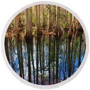 Sebring Cypress Swamp Reflection Round Beach Towel