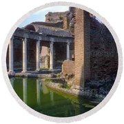 Second Century Villa Of Emperor Hadrian  Round Beach Towel
