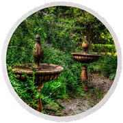 Secret Garden Birdbath Round Beach Towel