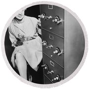 Secure Filing Cabinet Round Beach Towel by Underwood Archives