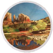Sedona Cathedral Rock Round Beach Towel