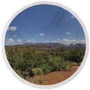 Sedona Panorama In 5 Pictures Round Beach Towel
