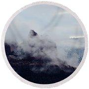 Sedona Rocks In Clouds 030315a Round Beach Towel