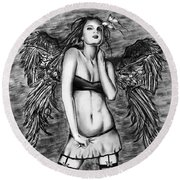 Seductive Angel  Round Beach Towel