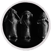 See No Evil Hear No Evi Speak No Evil 2 Round Beach Towel