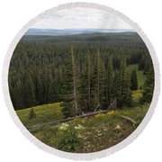 Seeing Forever - Yellowstone Round Beach Towel