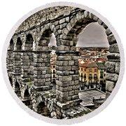 Segovia Aqueduct - Spain Round Beach Towel