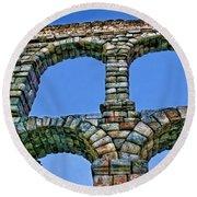 Segovia Aqueducts Blue By Diana Sainz Round Beach Towel