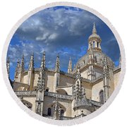 Segovia Gothic Cathedral Round Beach Towel by Ivy Ho