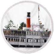 Segwun Steamboat - Painterly Round Beach Towel