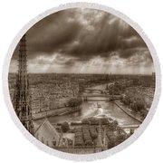 Seine From Notre Dame Round Beach Towel