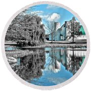 Selective Color Fall Day Round Beach Towel