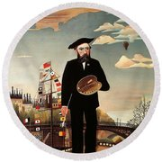 Self Portrait Round Beach Towel by Henri Rousseau