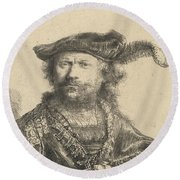 Self Portrait In A Velvet Cap With Plume Round Beach Towel by Rembrandt