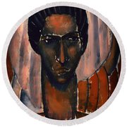 Self Portrait Round Beach Towel