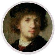 Self Portrait Round Beach Towel by Rembrandt Harmenszoon van Rijn