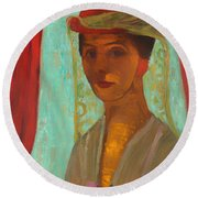 Self Portrait With Hat And Veil Round Beach Towel