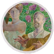 Self-portrait With Muse And Buddleia Round Beach Towel