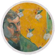 Self-portrait With Portrait Of Bernard. Les Miserables. Round Beach Towel
