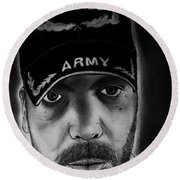 Self Portrait With Us Army Retired Cap Round Beach Towel