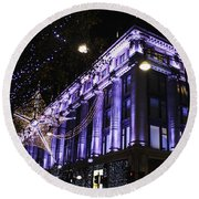 Selfridges London At Christmas Time Round Beach Towel
