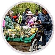 Selling Fresh Pineapple On Street In Lhasa-tibet    Round Beach Towel