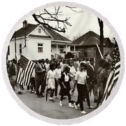 Selma To Montgomery Round Beach Towel by Benjamin Yeager