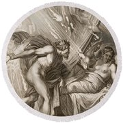 Semele Is Consumed By Jupiters Fire Round Beach Towel by Bernard Picart