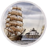 Semi-ah-moo Lighthouse Round Beach Towel