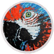 Semiabstract Parrot Round Beach Towel