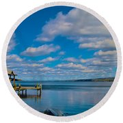 Seneca Lake At Glenora Point Round Beach Towel