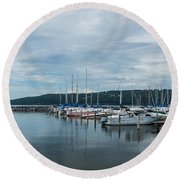 Seneca Lake Harbor - Watkins Glen - Wide Angle Round Beach Towel