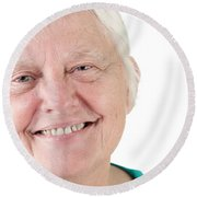 Senior Woman Portrait Smiling Round Beach Towel