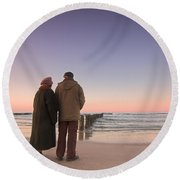 Seniors' Love And Ocean Round Beach Towel