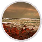 Sennen Storm Round Beach Towel by Linsey Williams