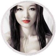 Sensual Artistic Beauty Portrait Of Young Asian Woman Face Round Beach Towel
