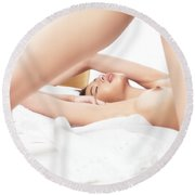 Sensual Closeup Of A Naked Woman Lying In Bed Round Beach Towel
