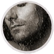 Sensual Portrait Of Man Face Under Pouring Water Black And White Round Beach Towel