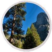 Sentinel Dome, Yosemite Np Round Beach Towel