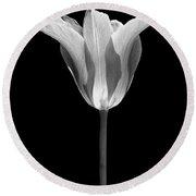 Sentry Tulip Flower Black And White Round Beach Towel