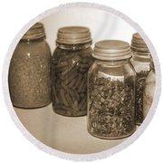 Sephia Vintage Kitchen Glass Jar Canning Round Beach Towel