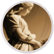 Sepia Angel Dream Round Beach Towel